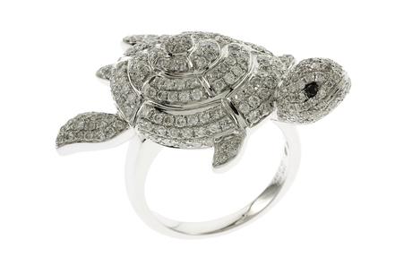 Ring Schildkröte 750/- Weißgold mit weißen und schwarzen Diamanten