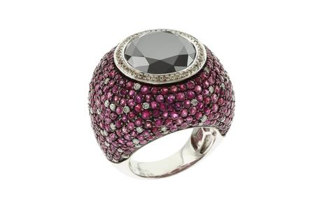 Ring 750/- Weißgold mit Diamanten und Rubinen