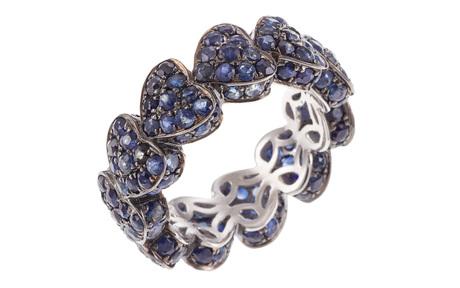 Ring 750/- Weißgold, schwarz rhodiniert  mit blauen Saphiren