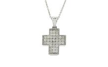 Collier Kreuz 750/- Weißgold mit Diamanten