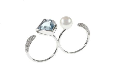 Ring 750/- Weißgold mit Diamanten, Aquamarin und Akoyazuchtperle