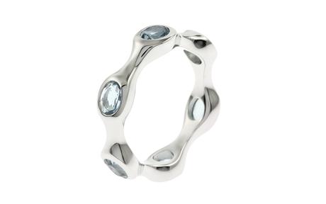 Ring 750/- Weißgold mit Aquamarinen