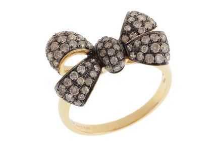 Ring Schleife 750/- Gelbgold mit braunen Diamanten