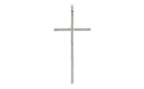 Anhänger Kreuz 750/- Weißgold mit Diamanten