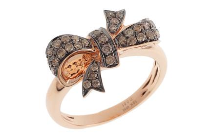 Ring Schleife 750/- Roségold mit braunen Diamanten