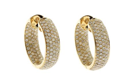 Creolen 750/- Gelbgold mit Diamanten