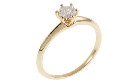 Solitär Ring 585/- Gelbgold mit Diamant IGI zertifiziert