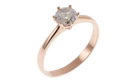 Solitär Ring 585/- Roségold mit Diamant IGI zertifiziert