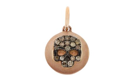 Anhänger Skull 750/- Rotgold mit braunen Diamanten