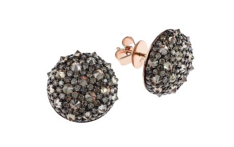Ohrschmuck 750/- Roségold mit braunen Diamanten