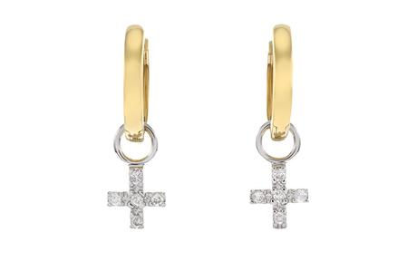 Creolen mit Kreuzeinhängern 750/- Gelbgold und Weißgold mit Diamanten