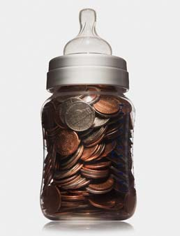 Bottle filled with coins