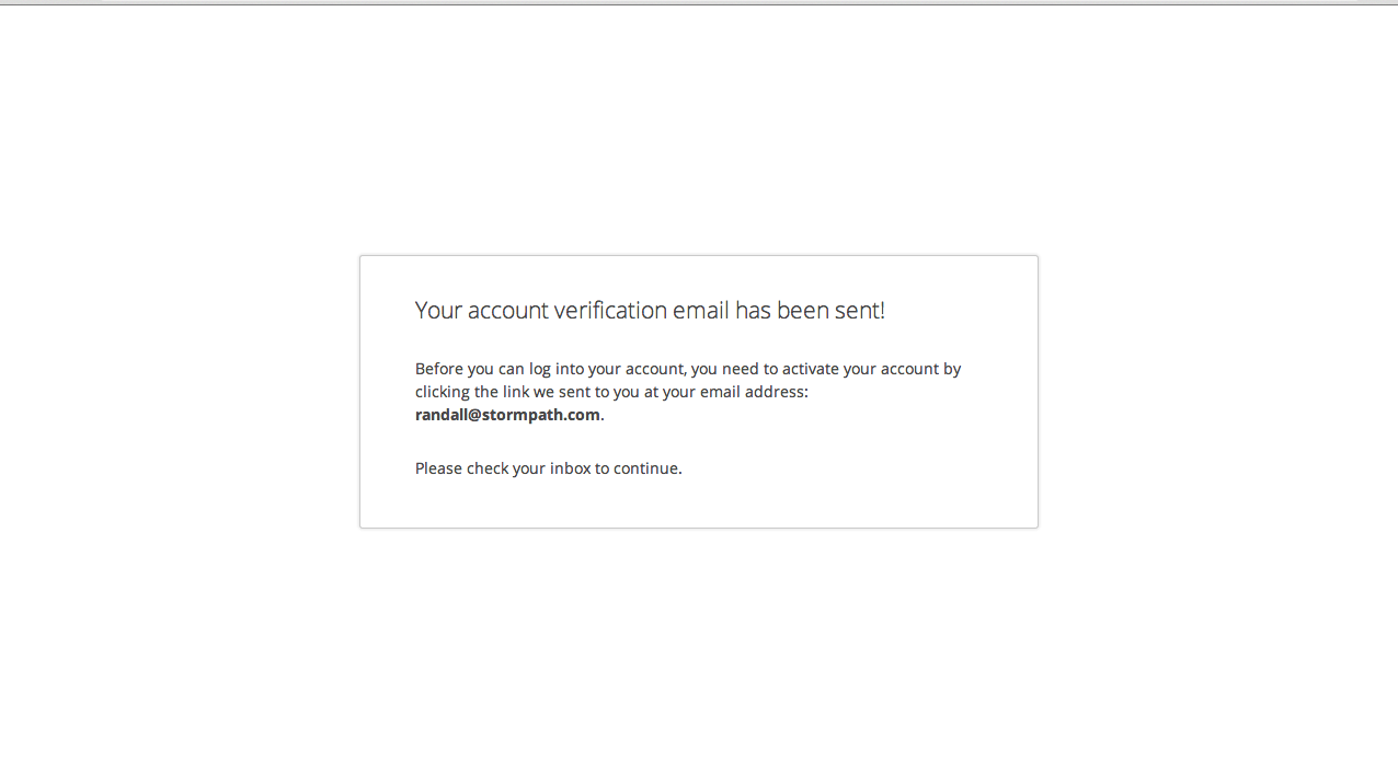 Stormpath Account Verification Email Sent