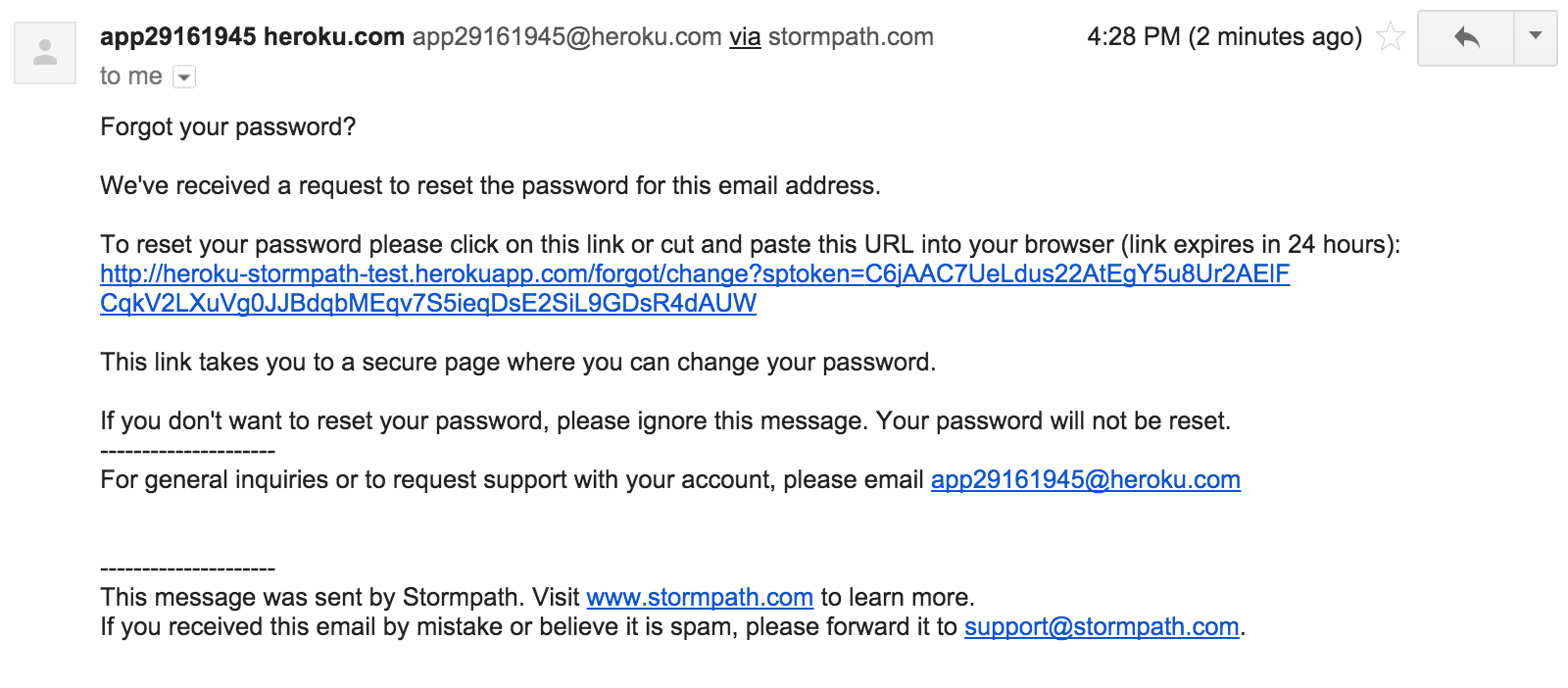Stormpath Password Reset Email
