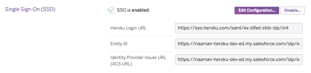 Heroku dashboard SSO settings