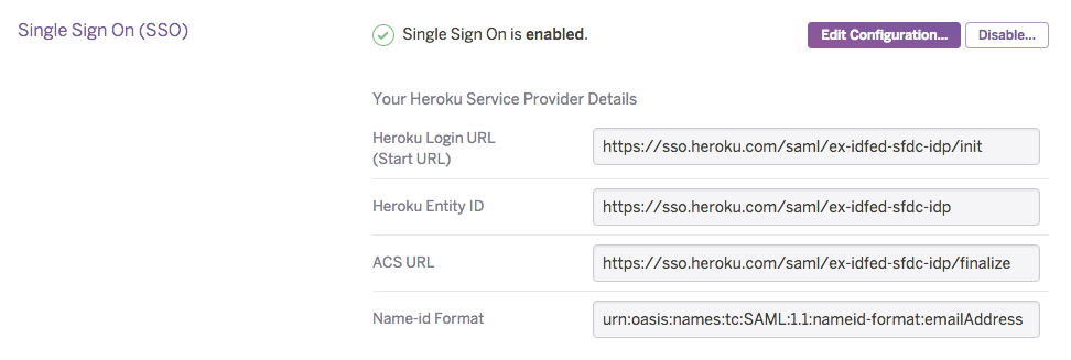 SSO enabled on a Heroku Organization