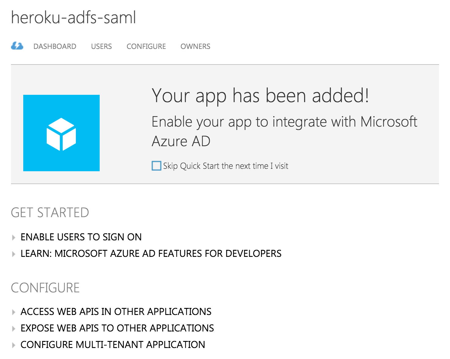 Azure App successfully added