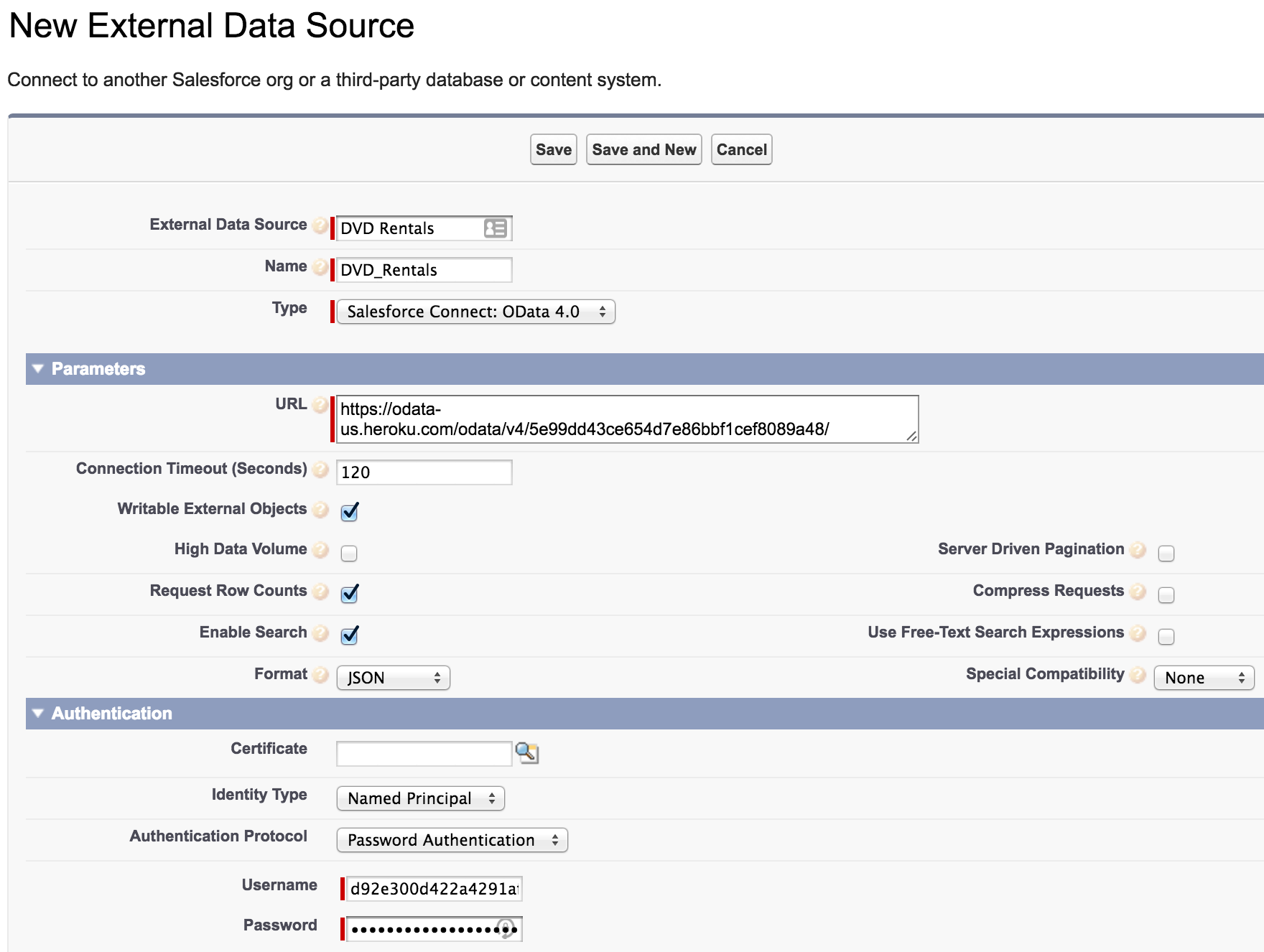 Salesforce UI - New External Data Source