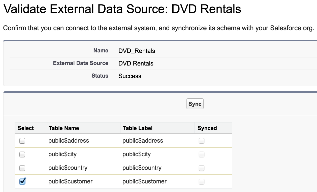 Salesforce UI - validate and sync external data source