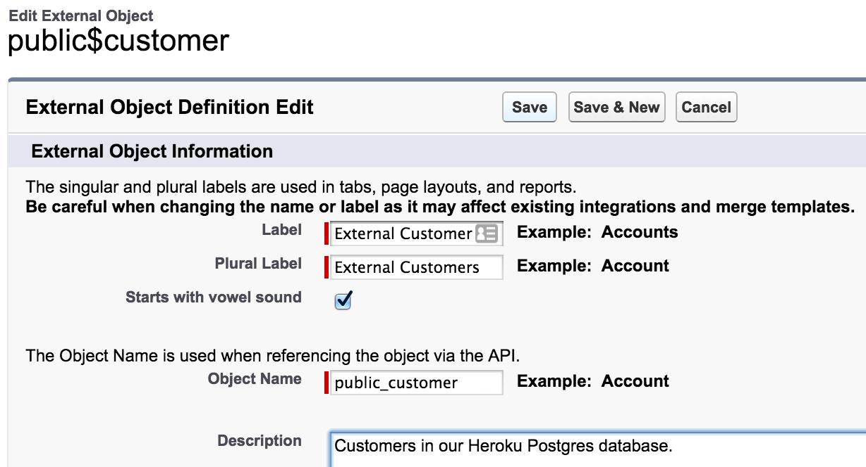 Salesforce UI - Edit label of external object