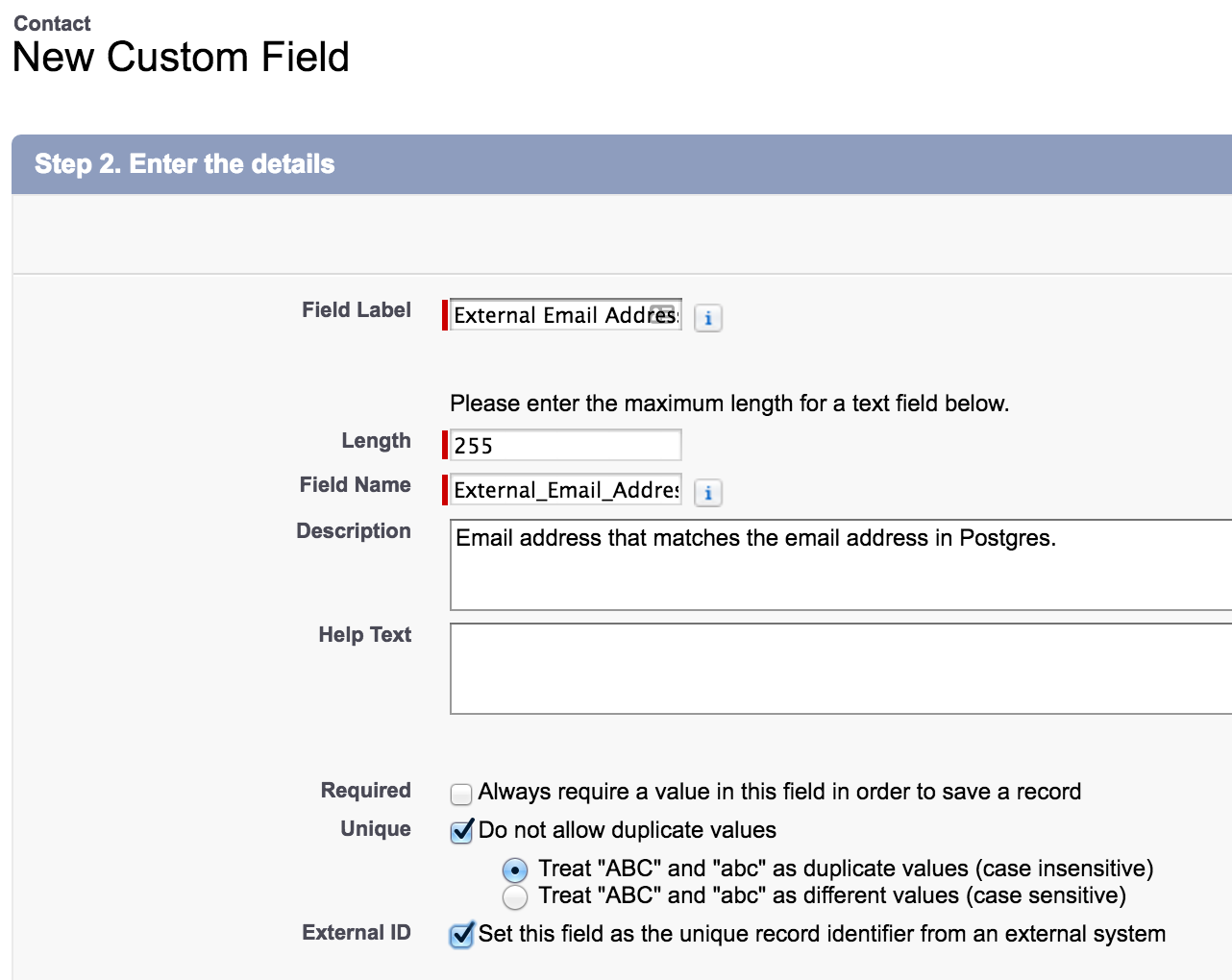 Salesforce UI - new custom field