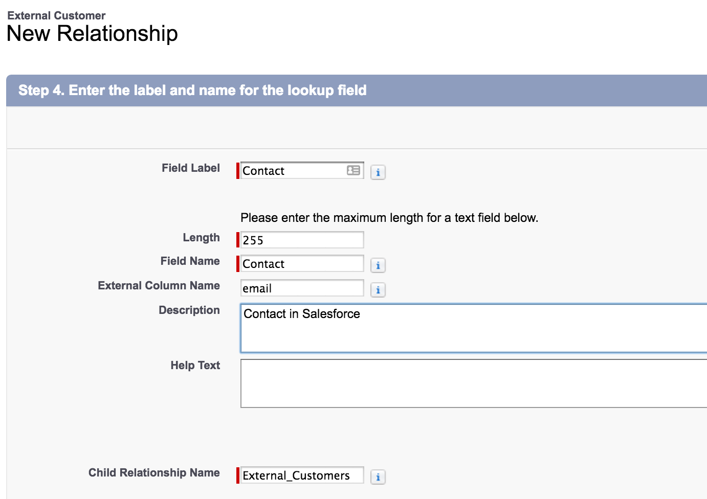 Salesforce UI - new relationship, step 4: name of lookup field