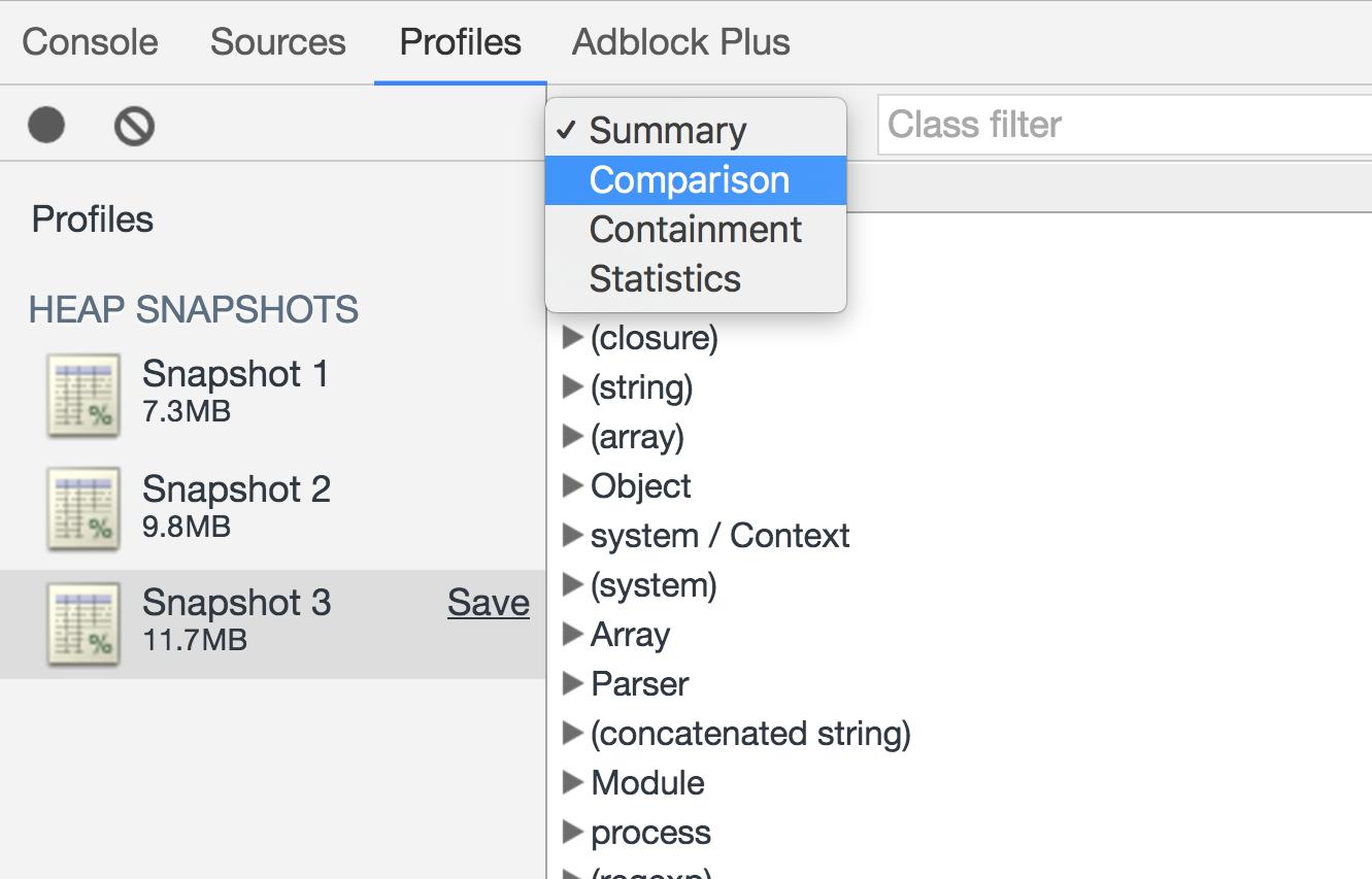 Screenshot demonstrating how to view a heap snapshot comparison