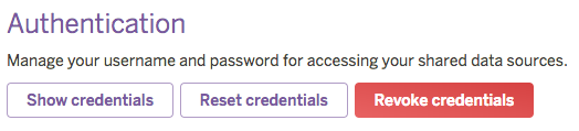 Heroku External Objects UI - 'Show credentials' button