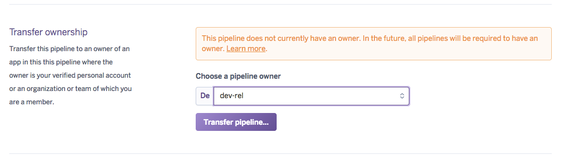Pipelines setting tab ownership segment