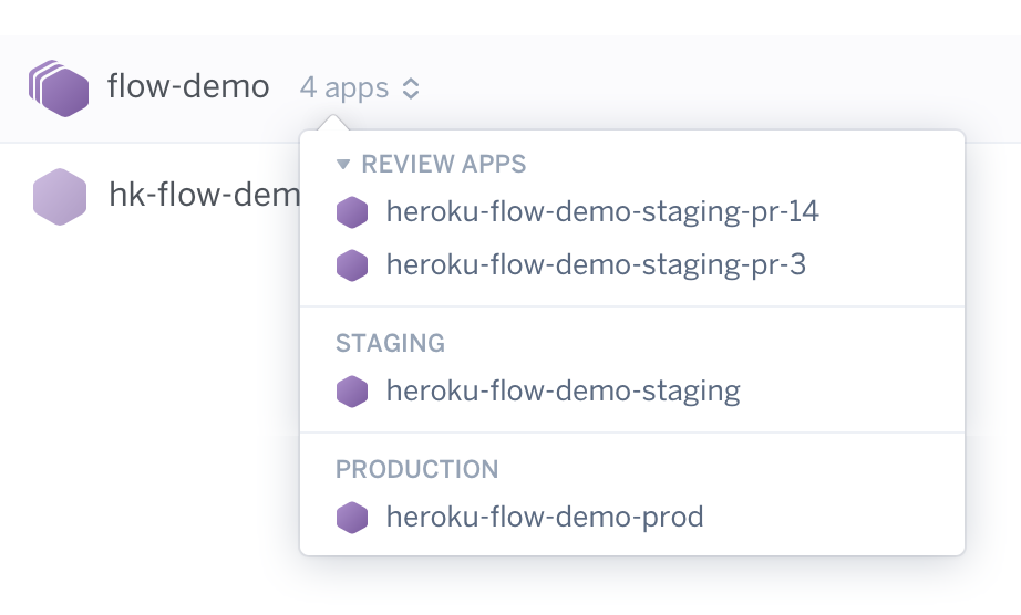 Pipelines in app list