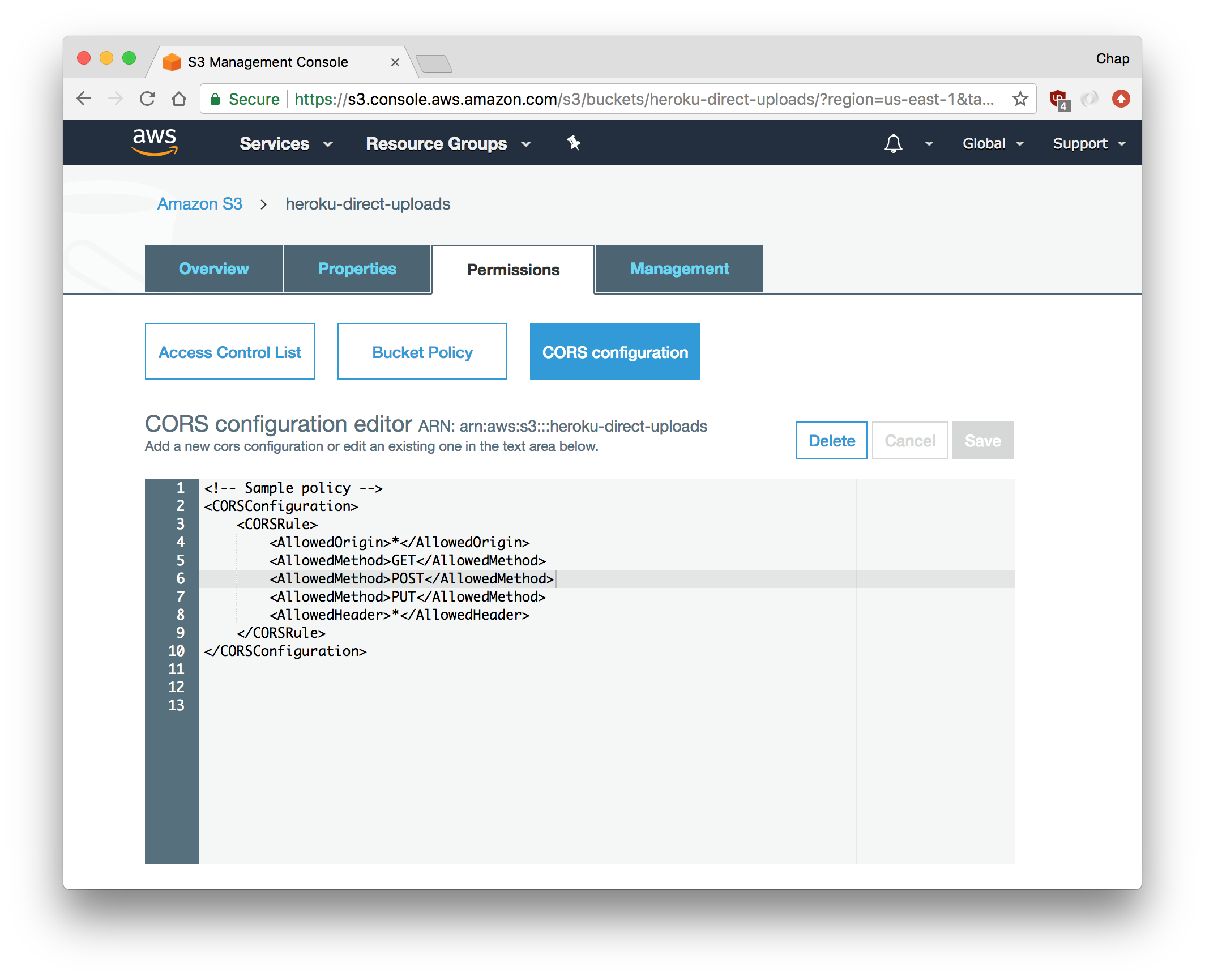 Locating the 'Properties' tab and CORS configuration editor