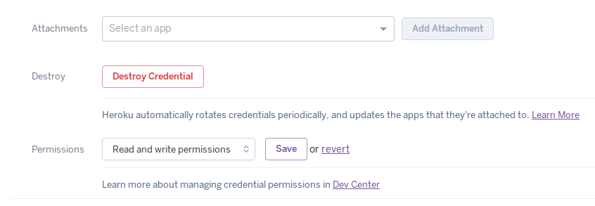 Configuring permissions on an existing credential