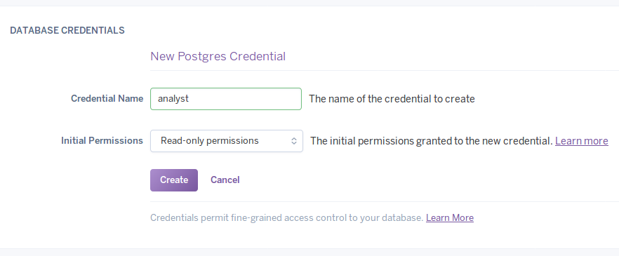 Creating a new credential