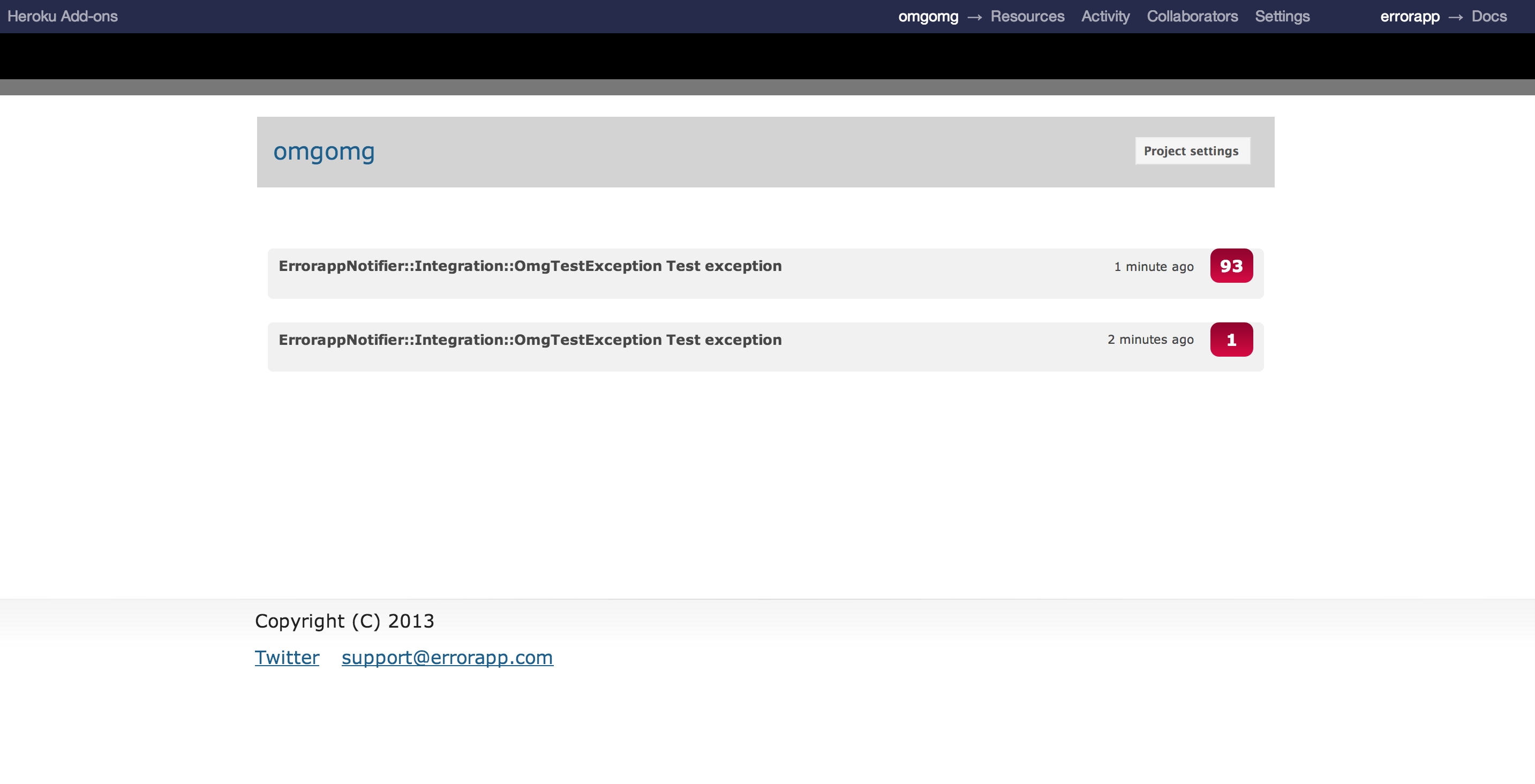 Screenshot of the ErrorApp demo page