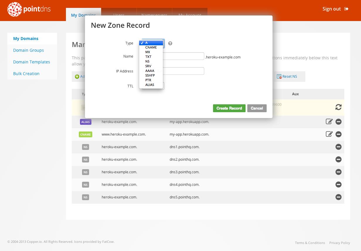 Screenshot of the new zone record creation UI