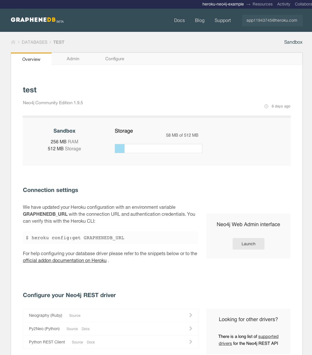 GrapheneDB dashboard