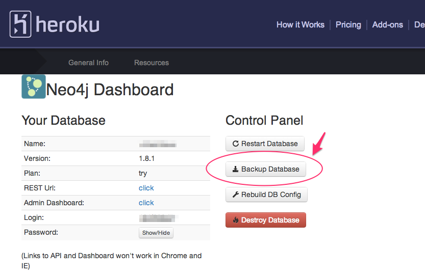 Backing up your database in the Neo4j add-on