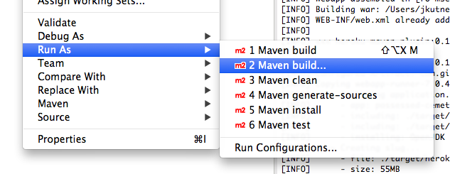 Run the a Maven build from Eclipse