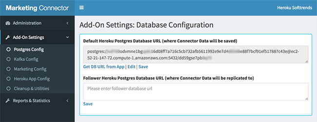 Settings Tab-Postgres Config