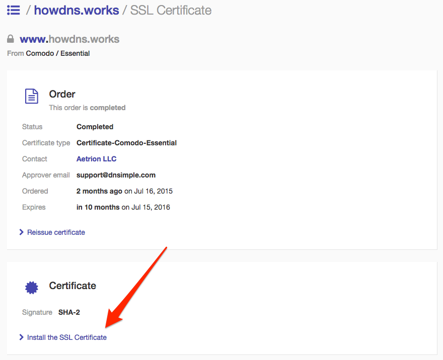 DNSimple certificate page