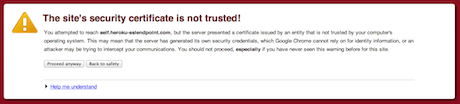 Certificate not trusted warning