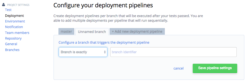 Select Deployment Branch