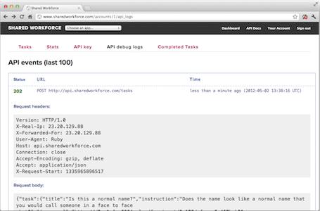 Shared Workforce API logs