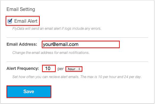 FlyData Heroku Alert Email Settings