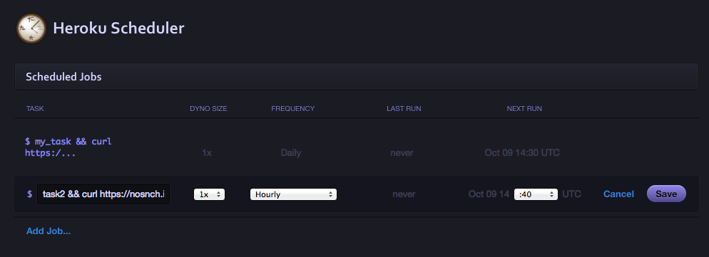 Example of Heroku Scheduler
