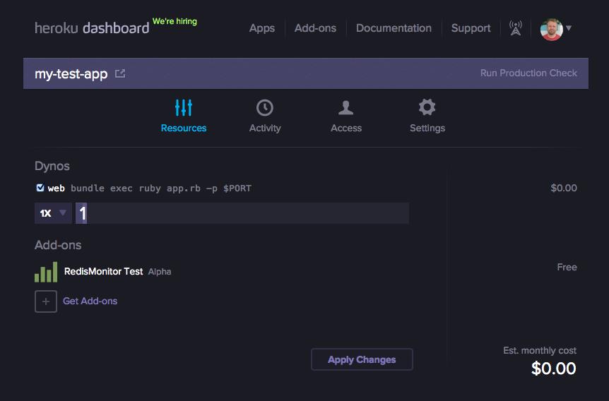 Heroku app dashboard