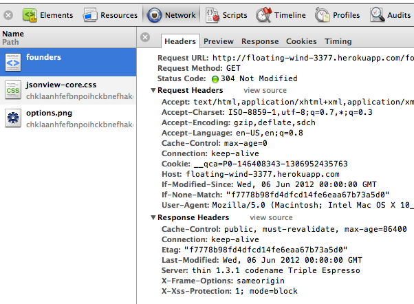 Cache headers introspection w/ Google Chrome developer tools