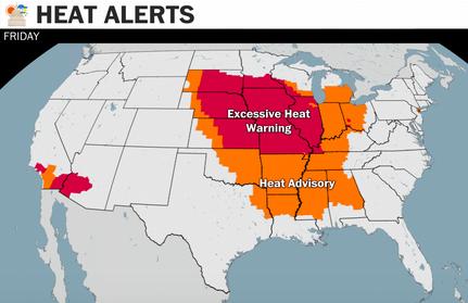 미국 찜통더위로 몸살, 26개 주 폭염 경보