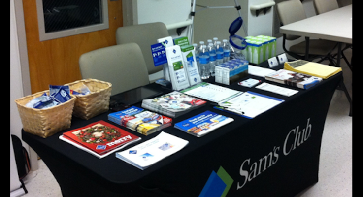 Sam's club health fair booth photo