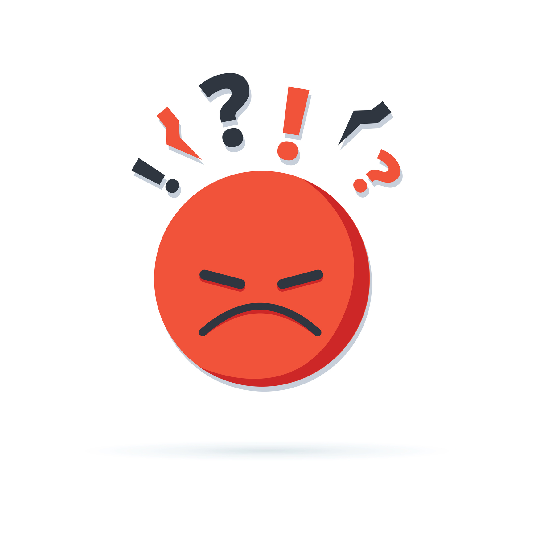 Red unhappy cartoon face expressing negative thinking